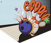 picture of bowling ball  - Vintage picture made in comic style bowling ball and bowling pins - JPG