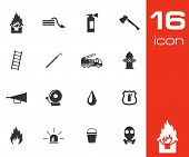 picture of fire-station  - Vector black  firefighter icons set white background - JPG