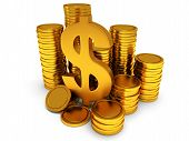 picture of golden coin  - Dollar sign and golden coins on white - JPG