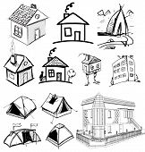 pic of interior sketch  - Sketch vector set of houses in doodle style - JPG