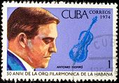 CUBA - CIRCA 1974: A stamp printed in the Cuba, shows the portrait of a musician - Antonio Mompo, ci