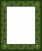 picture of scrollwork  - Repeating floral scrollwork border in greens for Christmas ad frame announcement certificate or invitation - JPG