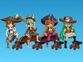 stock photo of pirate girl  - Pirate girls with fantasy outfits on background - JPG