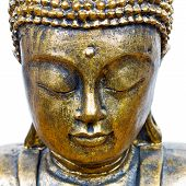 foto of siddhartha  - golden buddha face close up isolated on white - JPG