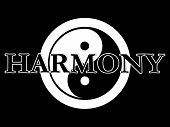 picture of superimpose  - THe traditional yin yang symbol in black and white with the word harmony superimposed on the top - JPG