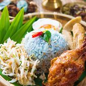 picture of malaysian food  - Nasi kerabu or nasi ulam - JPG