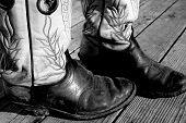 stock photo of buckaroo  - Muddy Cowboy Boots - JPG