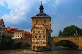 stock photo of regnitz  - Island town hall in Bamberg Bavaria Germany - JPG