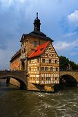 stock photo of regnitz  - Town hall and Regnitz river Bamberg Bavaria Germany - JPG