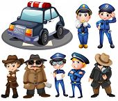 image of private detective  - Illustration of police and detectives - JPG