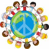 pic of flags world  - A globe with the peace sign on it and children dressed in their countries flag surround it - JPG