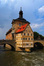 pic of regnitz  - Town hall and Regnitz river Bamberg Bavaria Germany - JPG