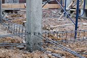 picture of reinforcing  - Steel rods used to reinforce concrete in construction - JPG