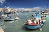 Boats moored in port. Trani. Apulia.