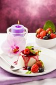 picture of panna  - photo of delicious panna cotta dessert with berries - JPG
