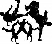 picture of break-dance  - breakdance silhouette break dance collection  illustration vector - JPG