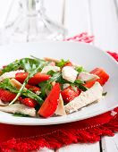 image of rocket salad  - strawberry rocket and chicken salad on plate - JPG