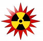 foto of radium  - A 3D metallic radioactivity sign with a red explosion background - JPG