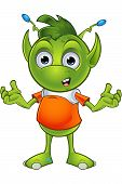 foto of cartoon character  - A cartoon illustration of a cute little green alien character with pointy ears - JPG