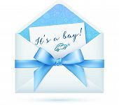 stock photo of christening  - Blue baby boy shower vector envelop with bow - JPG