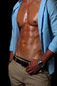 image of macho man  - elegant man with shirt on dark surface - JPG