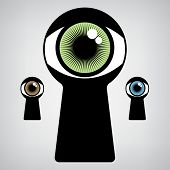 stock photo of voyeur  - open human eye in keyhole - JPG