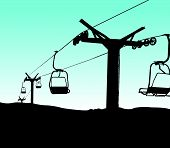 picture of lifted  - vector silhouette of ski lift chairs on blue background - JPG
