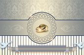 stock photo of ring-dove  - Template of wedding invitation card - JPG