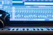 stock photo of production  - Music production at night - JPG