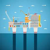 pic of offshore  - Vector concept of oil and gas offshore industry with stationary platform - JPG