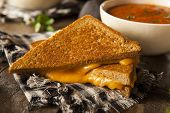 picture of tomato sandwich  - Homemade Grilled Cheese with Tomato Soup for Lunch - JPG