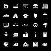 stock photo of clientele  - Hospitality business icons on gray background stock vector - JPG
