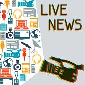 stock photo of mass media  - Background with journalism icons - JPG