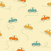 image of kiddie  - Seamless pattern with cute and funny cars - JPG
