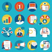 stock photo of human resource management  - Set of management human resources and customer experience icons  - JPG