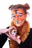 pic of tiger cub  - Girl in appearance a tiger with a toy tiger cub - JPG