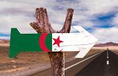 picture of algiers  - Algeria Flag wooden sign with desert road background - JPG