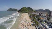 stock photo of brazilian carnival  - A Crowd Beach on a Summer Day in Brazilian Coastline  - JPG