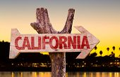 stock photo of bayou  - California wooden sign with sunset background - JPG