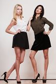 image of short skirt  - Two young fashion women caucasian and african in trendy short black skirts posing in full length studio portrait - JPG