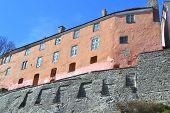 stock photo of fortified wall  - Fortress wall on Toompea hill in Tallinn Estonia - JPG