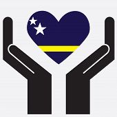 picture of curacao  - Hand showing Curacao flag in a heart shape - JPG