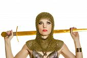 stock photo of valkyrie  - young woman model in viking armor with sword - JPG