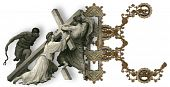 foto of crucifiction  - Victorian letter K with Jesus Christ enfeebled by the weight of the cross - JPG