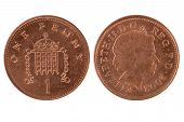 stock photo of copper coins  - One penny coin over a white background - JPG