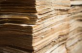 stock photo of manila paper  - Stack of the old paper documents in the archive - JPG