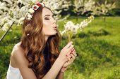 pic of headband  - fashion outdoor photo of beautiful sensual woman with long red hair and flower - JPG