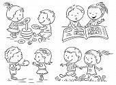 foto of common  - Set of four cartoon illustrations of kids - JPG