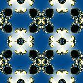 image of mandelbrot  - Fractal floral pattern texture on blue background - JPG