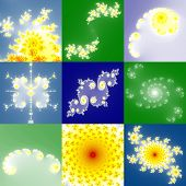 picture of mandelbrot  - Set of fractal floral patterns textures or backgrounds - JPG